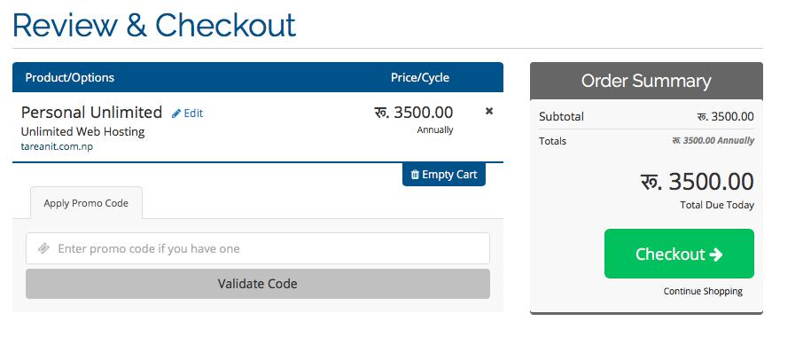 complete web hosting order