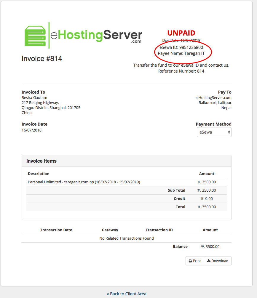 Pay for web hosting via eSewa